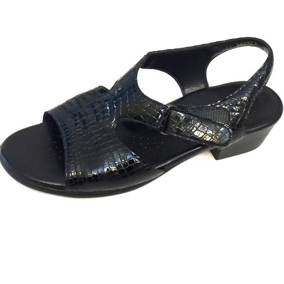 fe633f3c95d70 SAS Shoes | Black Patent Leather Croc Print Sandals 95m | Poshmark